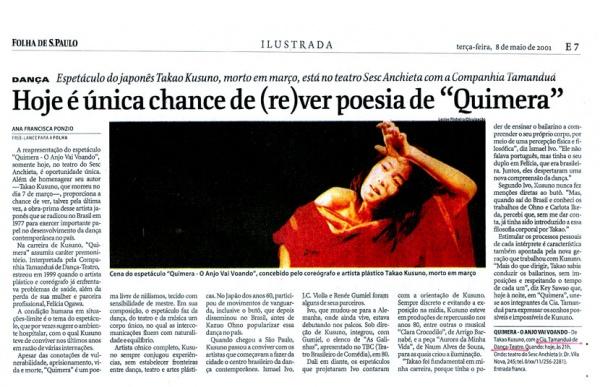2001 0508 Hoje E A Unica Chance De Rever Poesia De Quimera